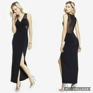 Sexy Mesh Back Black Maxi Formal Cocktail Dress